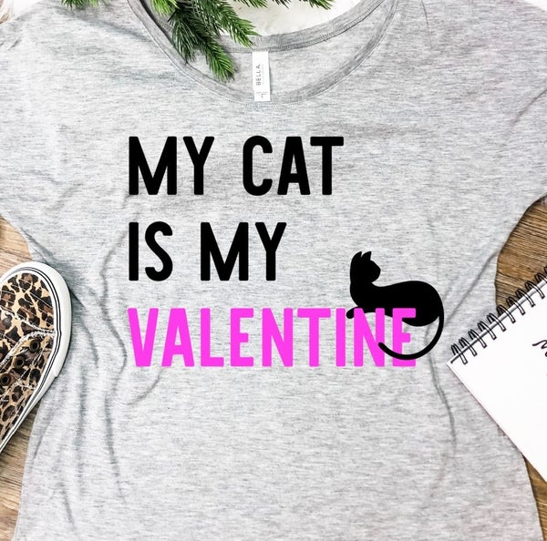 MY CAT IS MY VALENTINE GRAPHIC TEE