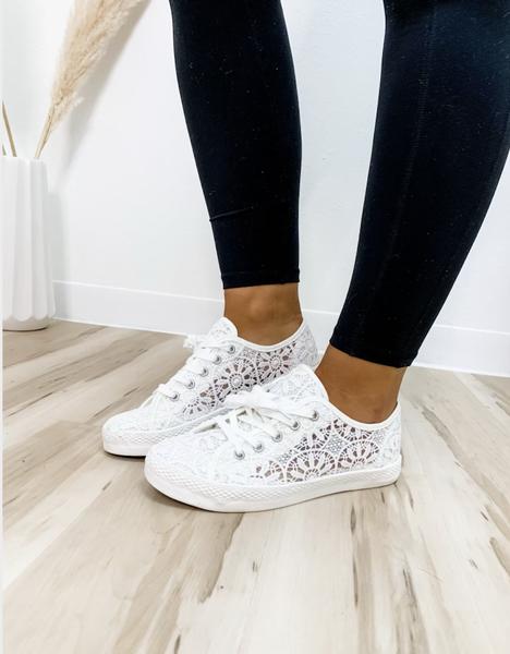 White Crochet Tennis Shoe