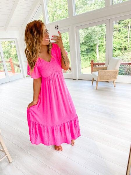 FLASH SALE- Pretty In Pink Midi Dress