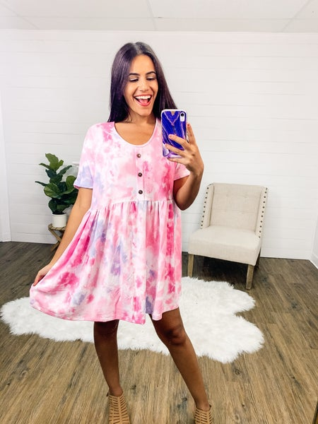 In Your Dreams Pink Button Trim Dress