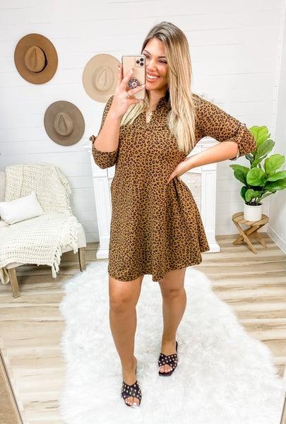 Try Me Brown Leopard Dress