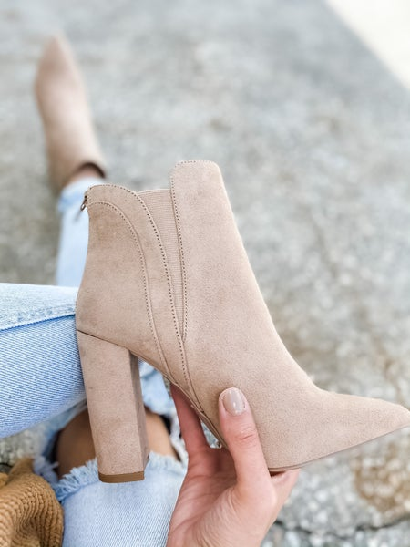 Warm Taupe Suede Pointed Toe Bootie