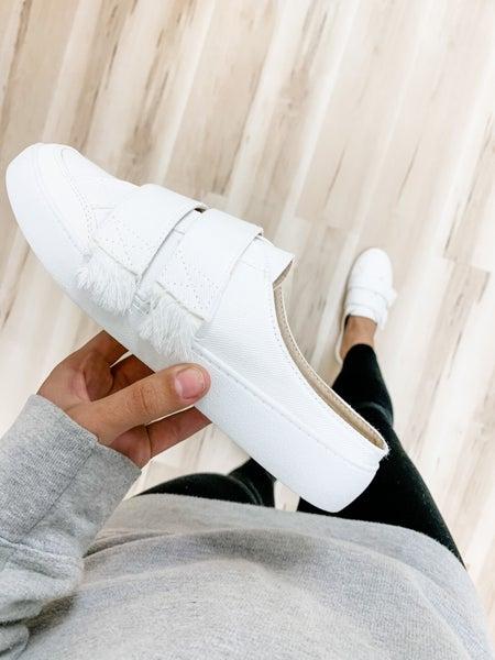 White Slip On Backless Sneakers