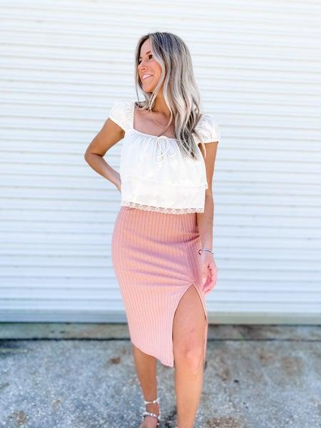 Office Catch Mauve Ribbed Midi Skirt