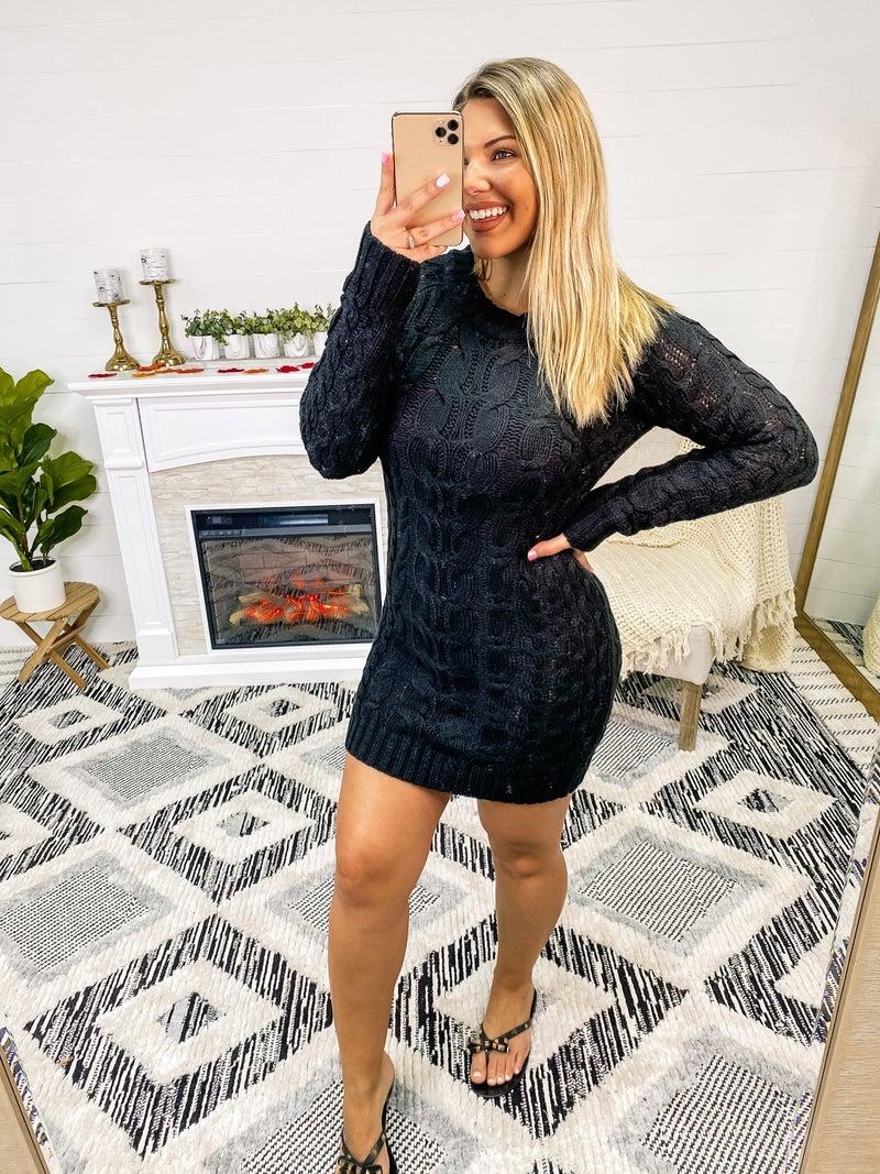 Cozy At Midnight Black Sweater Dress
