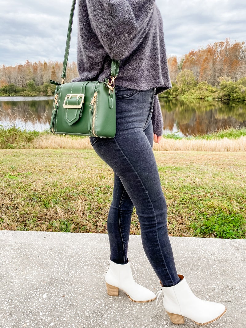 Green Stitched Point Dandy Tote Bag