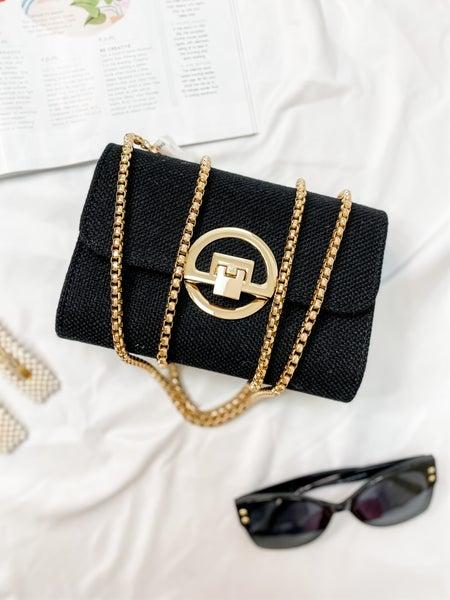 Black & Gold Accent Shoulder Bag