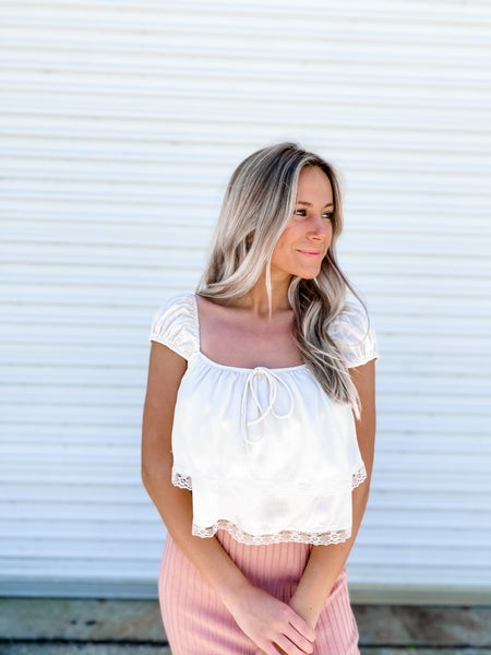 On The Dainty Side Cream Lace Crop Top