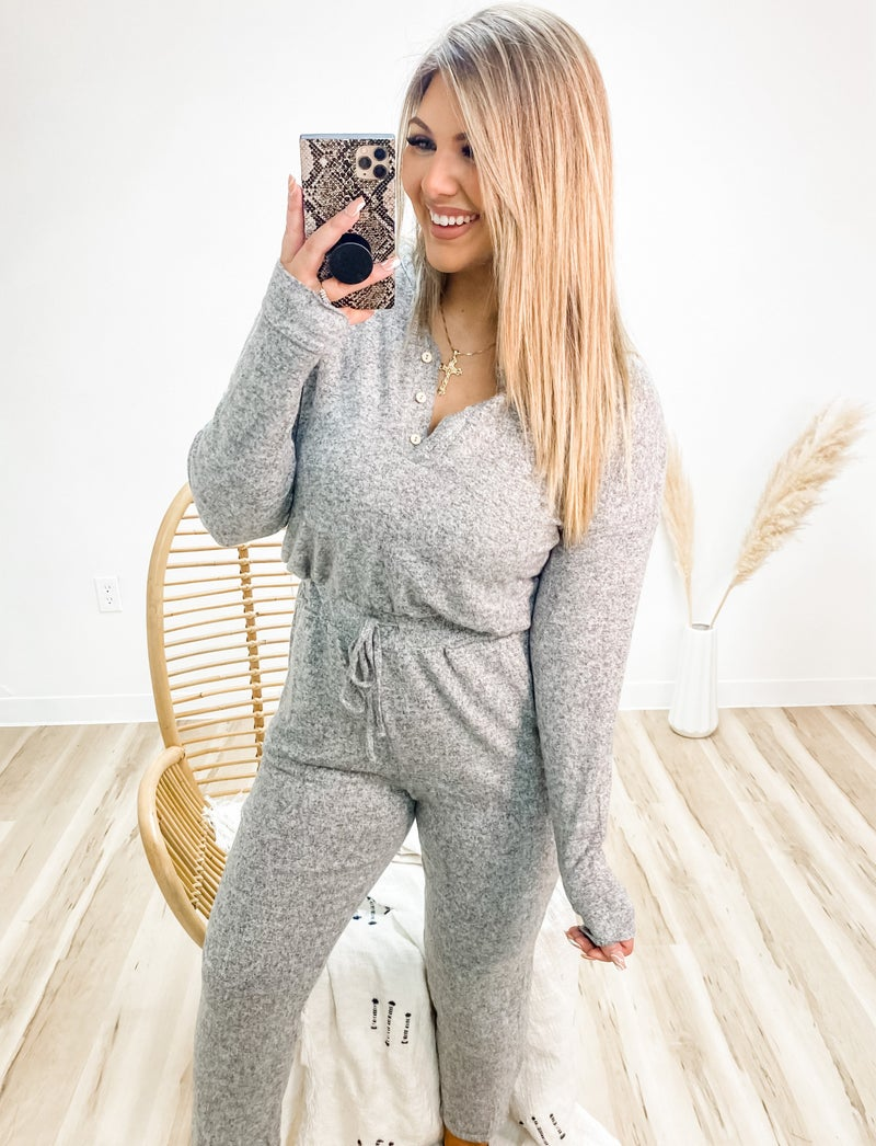 Forget The Rules Heather Grey Jumpsuit