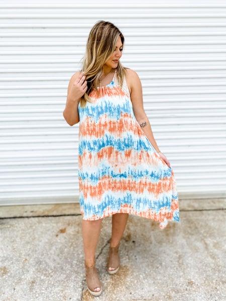 Hey Vacay Orange & Teal Tye-Dye Maxi Dress
