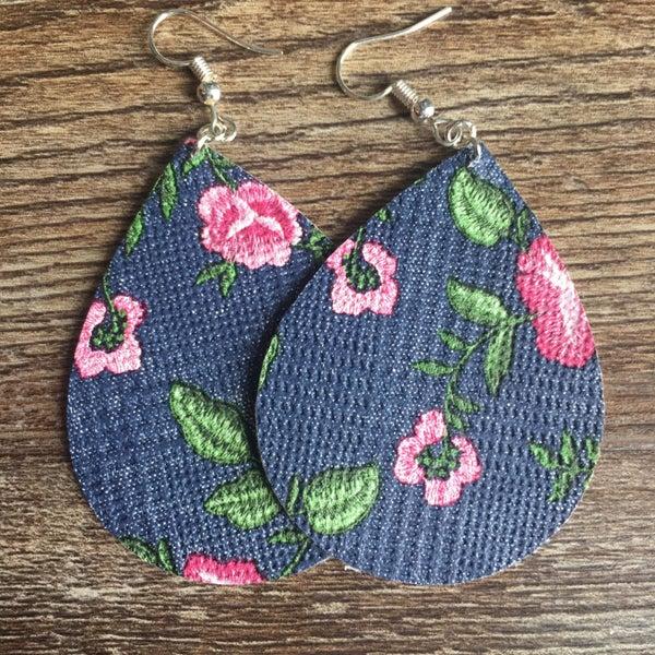 Blue jean floral earrings