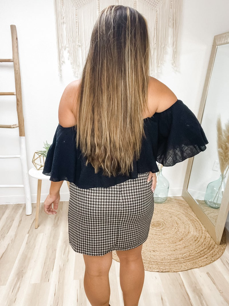 Call It Off Black Bell Sleeve Top