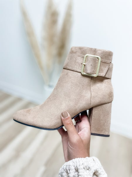 Warm Taupe Suede Buckle Chunky Bootie