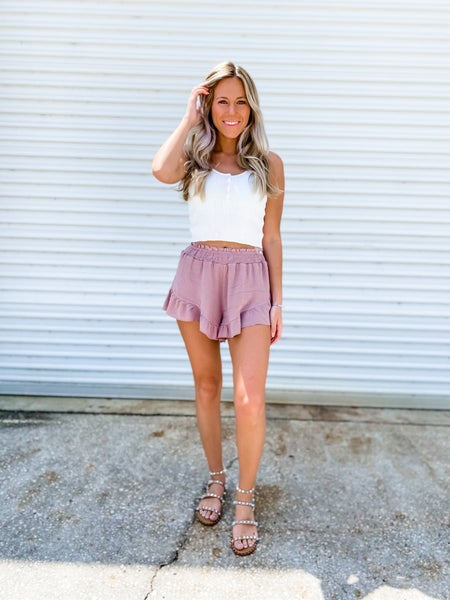 I Frilly Love You Mauve Shorts