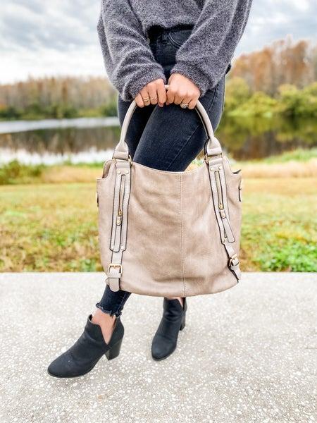 Dandy Solid Shoulder Strap Dark Grey Large Tote Bag