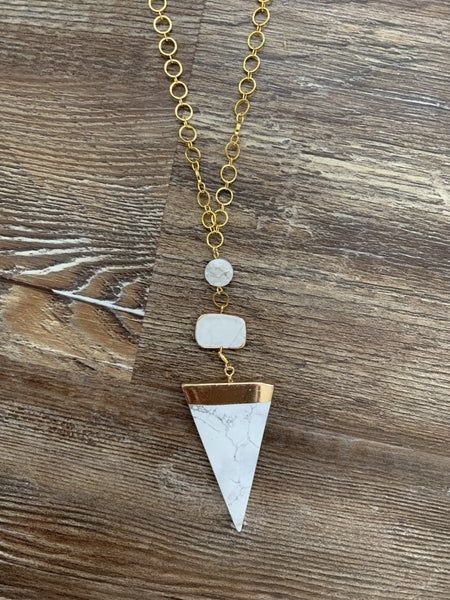 White and grey druzy necklace