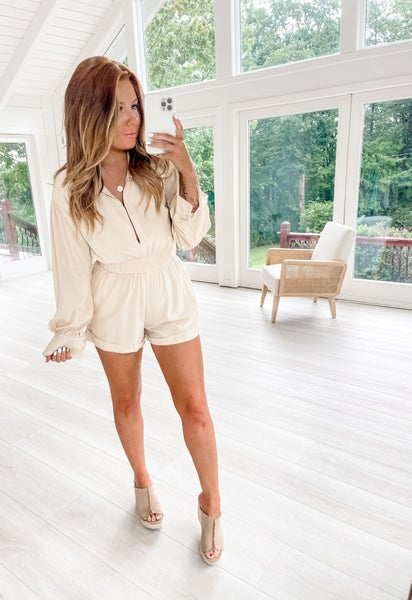 Just Go With It Beige Romper