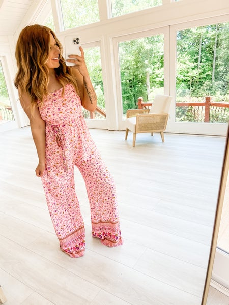 You Grow Girl Pink Floral Jumpsuit