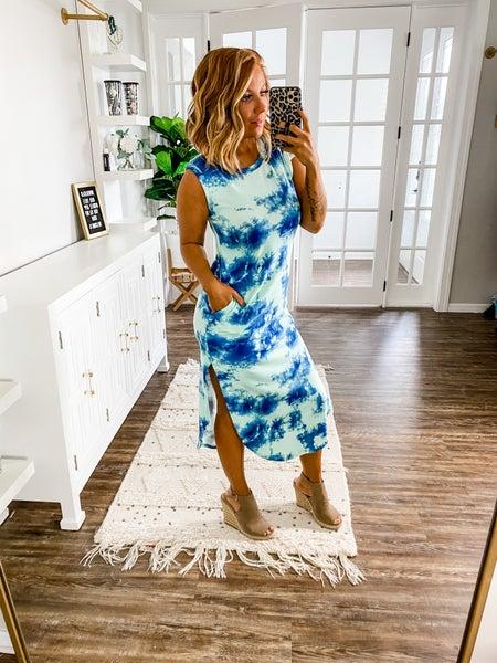 The Simple Life Blue Tie-Dye Maxi Dress
