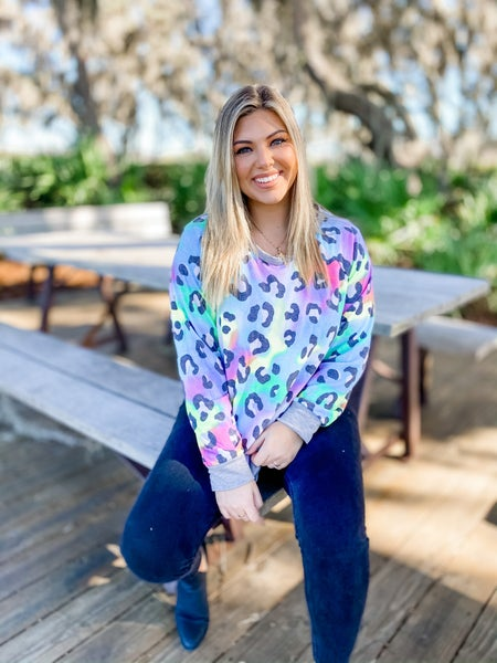 Stand Out Blue Combo Leopard Top
