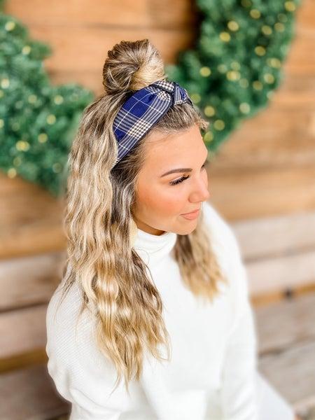 Navy Plaid Stylish Tied Hair Band
