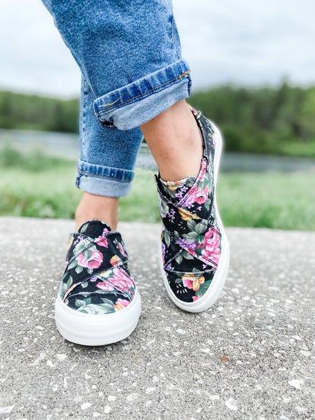 Black Floral Cross Strap Shoe