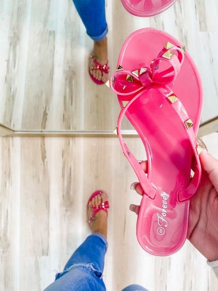 Fuchsia Studded Bow Jelly Sandals