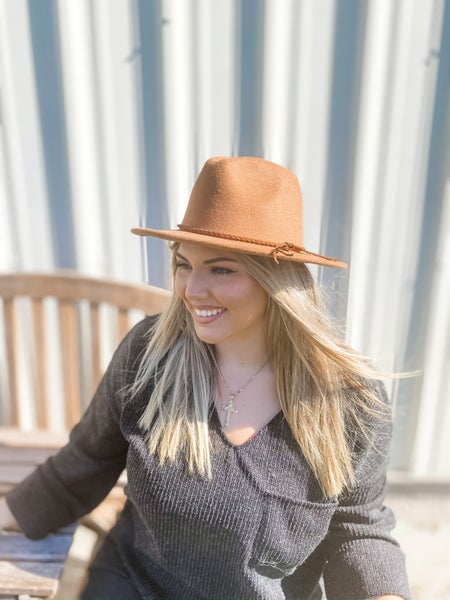 Taupe Wool Leather Braided Fedora