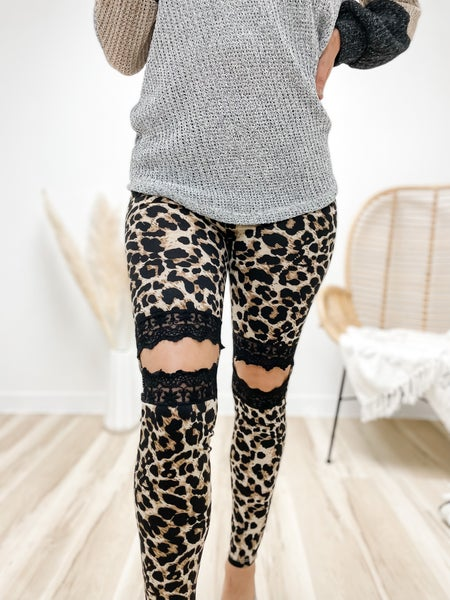 Kneed-Lace To Say Leopard Cutout Leggings