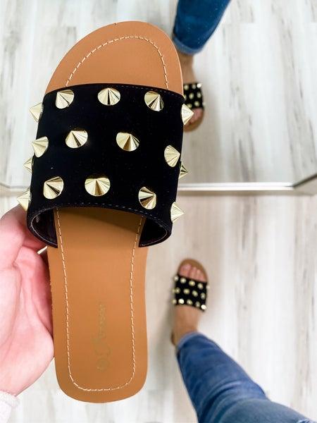 Spike Studded Black Single Strap Sandal