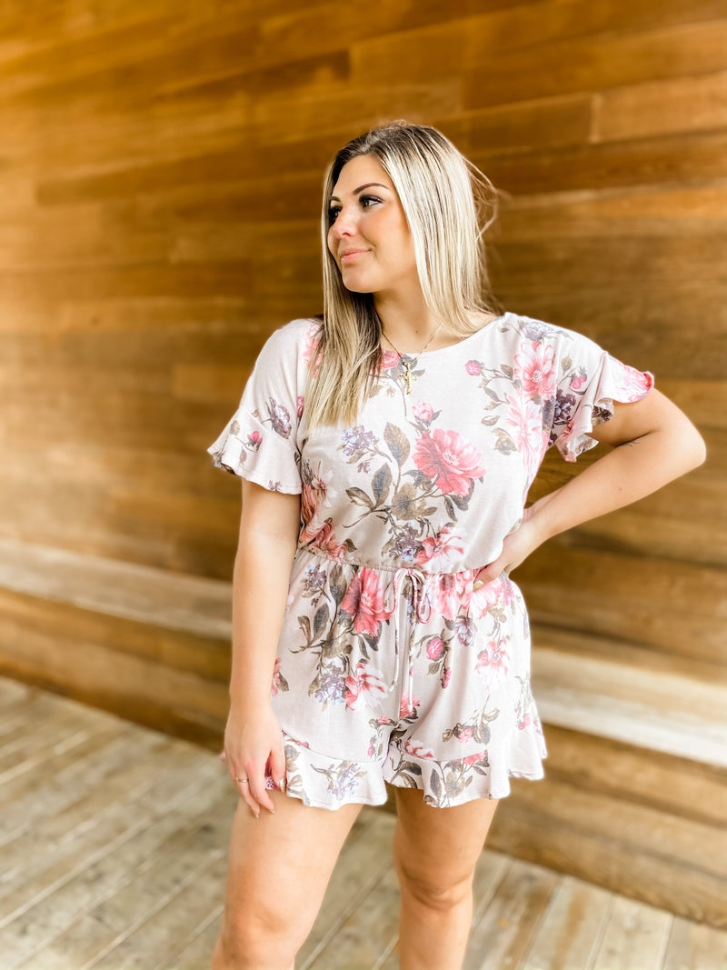 Spring In Your Step Taupe Floral Romper