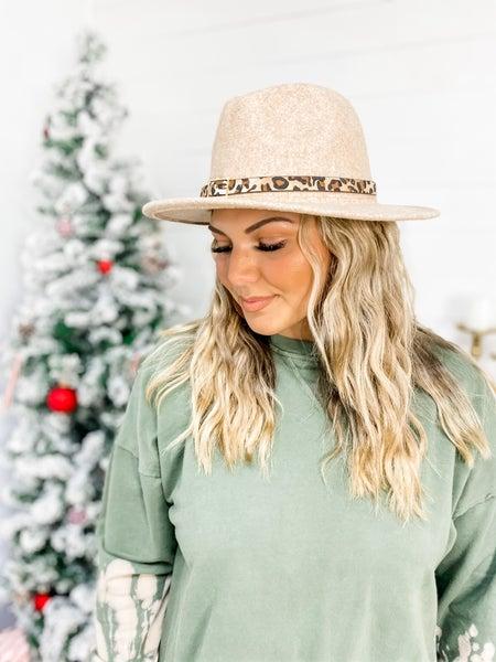 Beige Leopard Belt Buckle Panama Hat