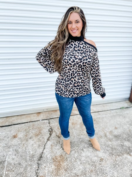There's No Other Way Leopard Cold Shoulder Top