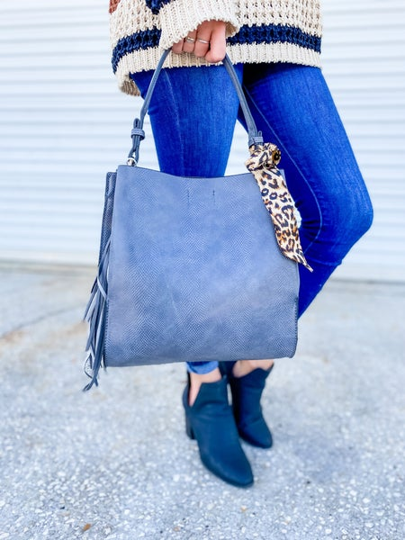Grey Leopard Scarf Python Shoulder Hobo Bag