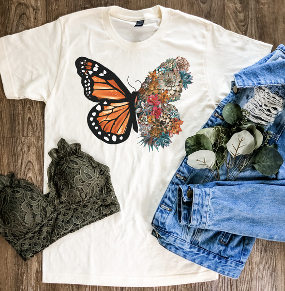 Succulent Butterfly Graphic Tee