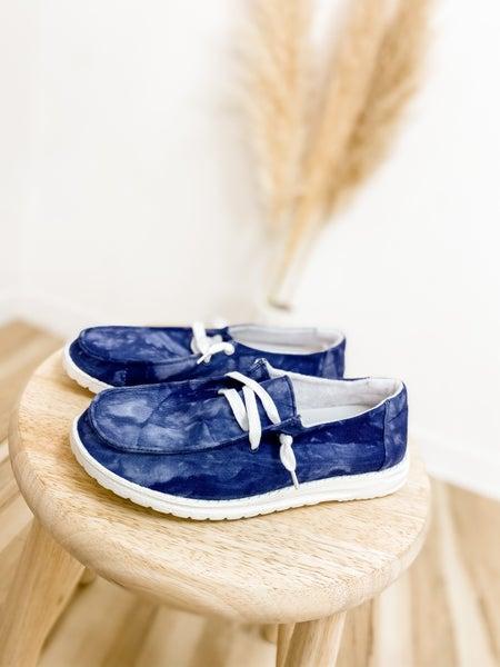 Navy Marble Slip On Shoe
