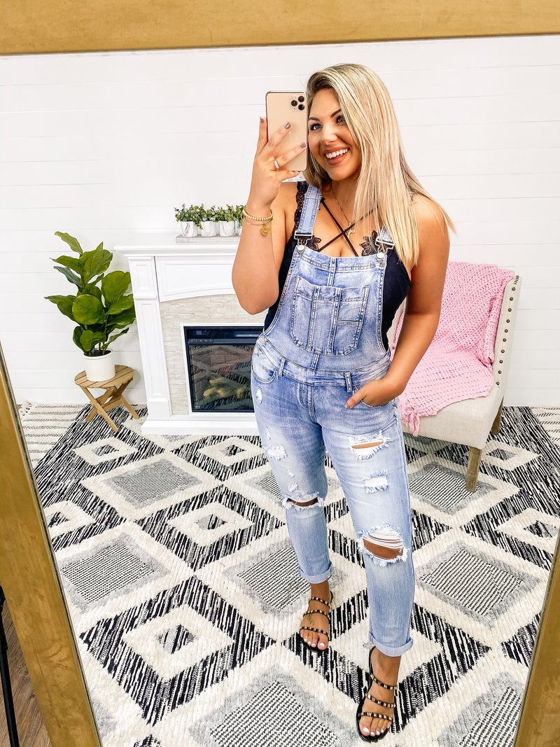 Finally Came Around Blue Jean Distressed Overalls