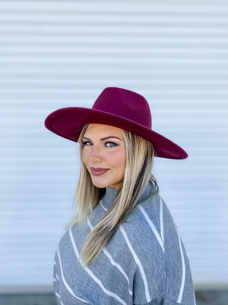 Wine Wide Brim Panama Hat