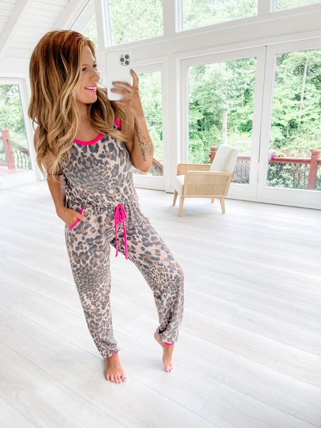 The Thrill Of The Chase Fuchsia Contrast Leopard Jumpsuit