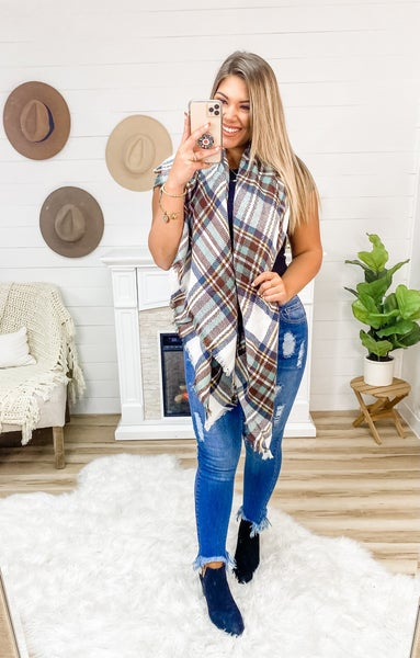 Near And Dear White, Brown & Mint Blanket Scarf