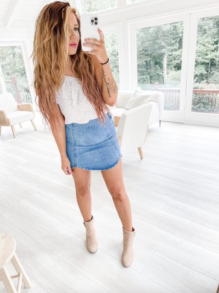 Round Trip Denim Mini Skirt