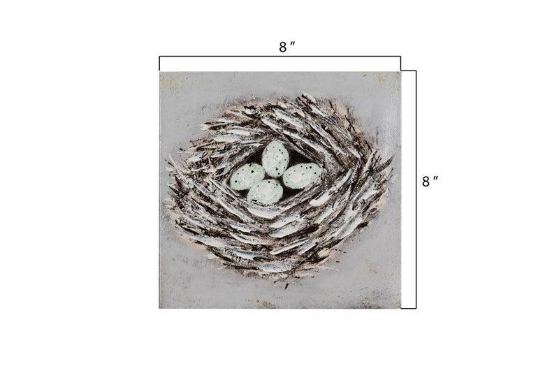 "8"" sq bird nest wall decor"