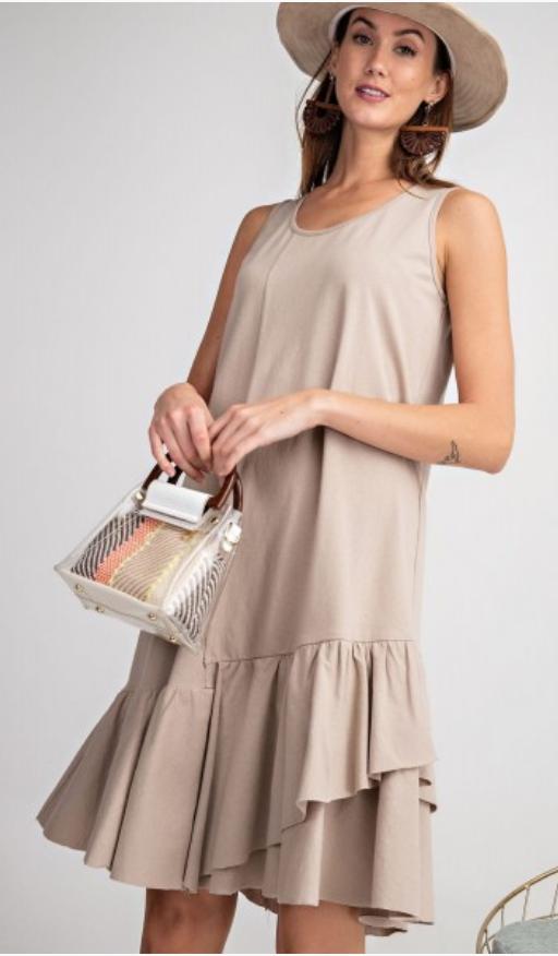 Cotton ruffle sleeveless