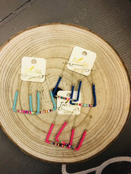 Earrings metal and beads multi