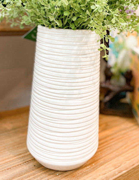 White  Vase with Stripe Detail