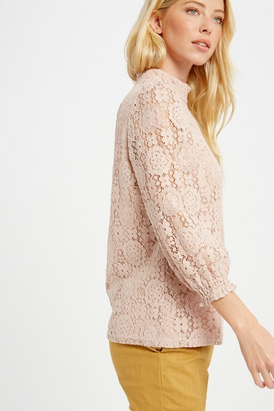 FLORAL LACE PUFF SLEEVE *Final Sale*