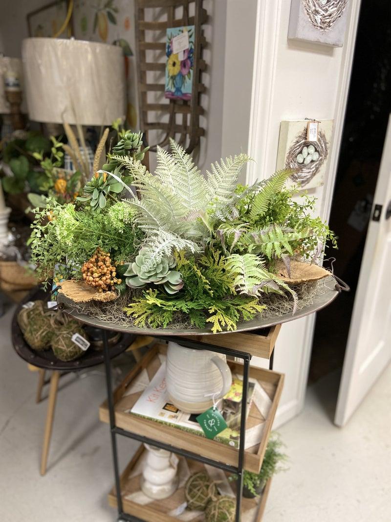 Floral Arrangement on  Galvanized Tray