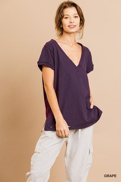 Distressed short sleeve v-neck