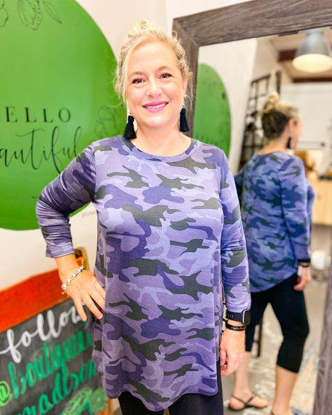 Quarter Sleeve Camouflage Top