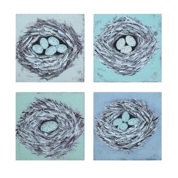 "8"" sq bird nest wall decor"